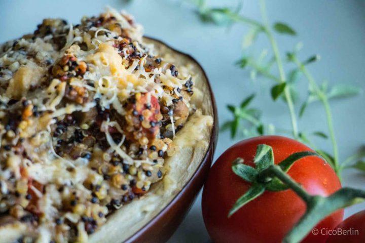 Vegetarisch: Auberginen Rezept mit Quinoa und Gemüse