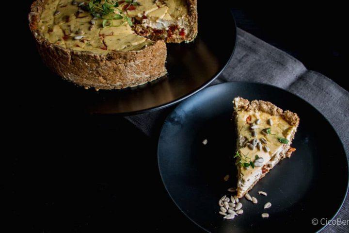 Einfaches Rezept: vegetarische Quiche mit Ziegenkäse