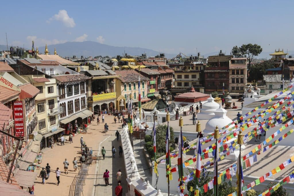 Cafes am Boudhanath Tempel Kathmandu Sehenswürdigkeiten